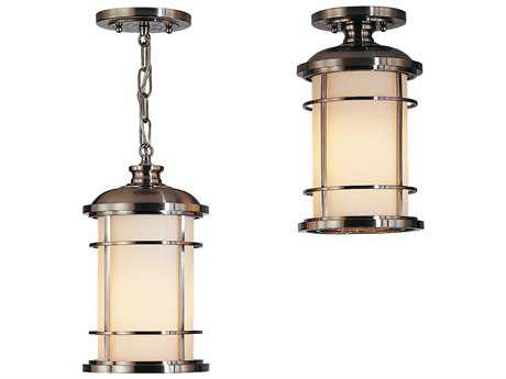 Feiss Lighthouse Brushed Steel 7'' Wide LED Outdoor Hanging Pendant Light with Opal Etched Glass Shade