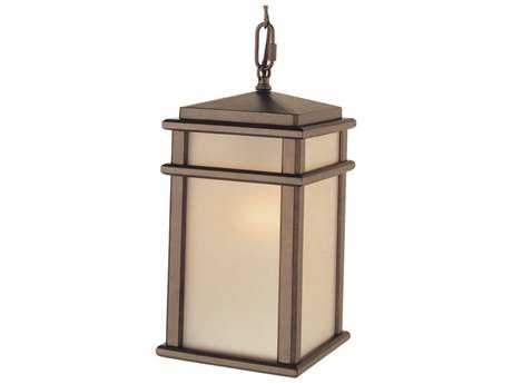 Feiss Mission Lodge Corinthian Bronze 7'' Wide LED Outdoor Hanging Pendant Light with Amber Ribbed Glass Shade