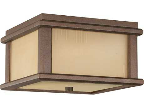 Feiss Mission Lodge Corinthian Bronze Two-Light 9'' Wide LED Outdoor Flush Mount Light with Amber Ribbed Glass Shade