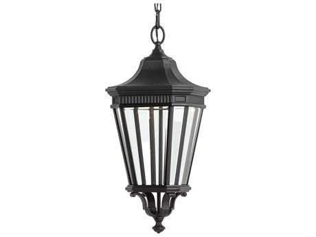 Feiss Cotswold Lane Black 9.5'' Wide LED Outdoor Wall Sconce with Glass Shade