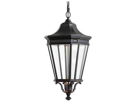 Feiss Cotswold Lane Black 12'' Wide LED Outdoor Wall Sconce with Glass Shade
