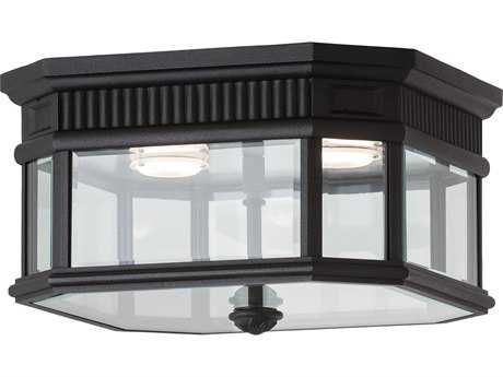 Feiss Cotswold Lane Black Two-Light 11.5'' Wide LED Outdoor Flush Mount Light with Clear Beveled Glass Shade