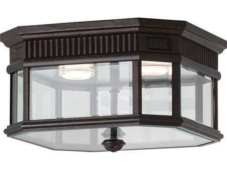 Feiss Cotswold Lane Grecian Bronze Two-Light 11.5'' Wide LED Outdoor Flush Mount Light with Clear Beveled Glass Shade
