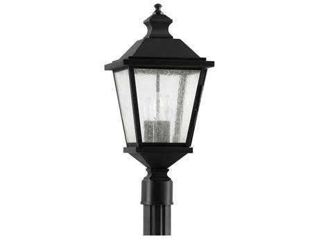 Feiss Woodside Hills Black Three-Light 9.75'' Wide Outdoor Post Mount Light with Clear Seeded Glass Shade