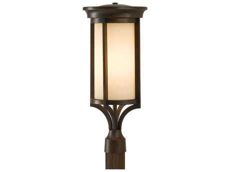 Feiss Merrill Heritage Bronze 9.5'' Wide Outdoor Post Mount Light with Creme Etched Glass Shade