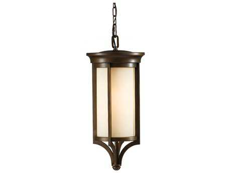 Feiss Merrill Heritage Bronze 9.5'' Wide Outdoor Hanging Pendant Light with Creme Etched Glass Shade