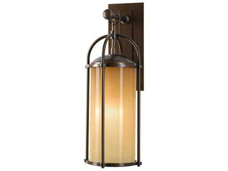 Feiss Dakota Heritage Bronze 7.63'' Wide LED Outdoor Wall Sconce with Aged Oak Glass Shade