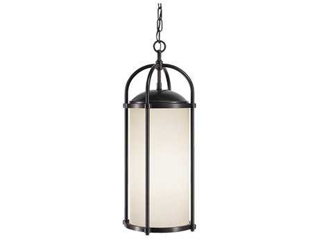 Feiss Dakota Espresso 9.5'' Wide LED Outdoor Hanging Pendant Light with White Opal Etched Glass Shade