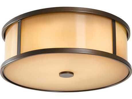 Feiss Dakota Heritage Bronze Two-Light 14'' Wide LED Outdoor Flush Mount Light with Aged Oak Glass Shade