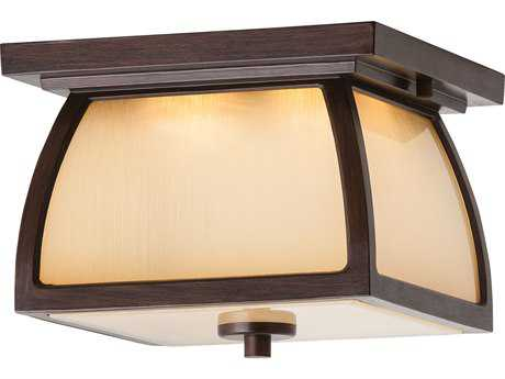 Feiss Wright House Sorrel Brown Two-Light 9'' Wide LED Outdoor Flush Mount Light with Striated Ivory Glass Panel Shade