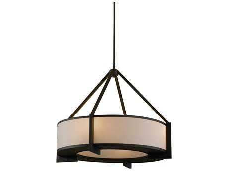 Feiss Stelle Oil Rubbed Bronze Four-Light 24.25'' Wide Edison Bulb Pendant Light with Cream Linen Shade