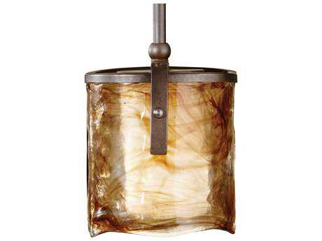 Feiss Aris Roman Bronze 7.5'' Wide Edison Bulb Mini-Pendant with Amber Alabaster Glass Shade