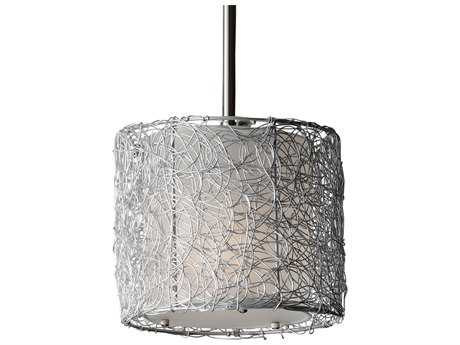 Feiss Wired Brushed Steel 8'' Wide Edison Bulb Mini-Pendant with Silver Organza Fabric Shade