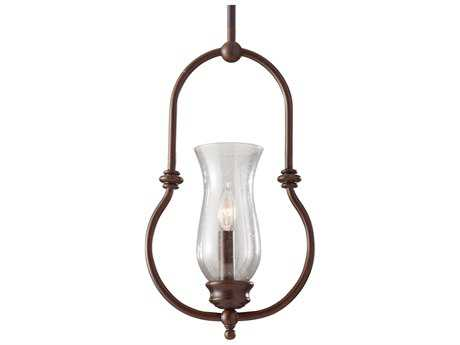 Feiss Pickering Lane Heritage Bronze 9.31'' Wide Mini-Pendant with Clear Seeded Glass Shade
