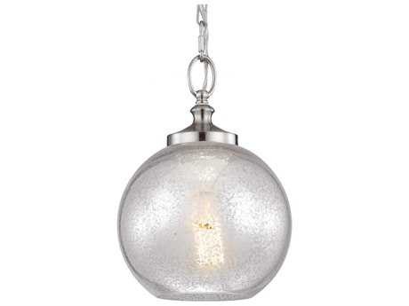 Feiss Tabby Brushed Steel 8.5'' Wide Edison Bulb Mini-Pendant with Silver Mercury Plating Glass Shade