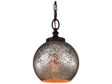 Feiss Tabby Oil Rubbed Bronze 8.5'' Wide Edison Bulb Mini-Pendant with Brown Mercury Plating Glass Shade