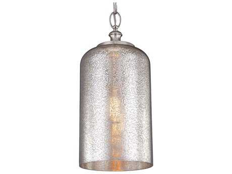 Feiss Hounslow Polished Nickel 9'' Wide Edison Bulb Pendant Light with Silver Mercury Plating Glass Shade