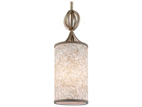 Feiss Parchment Park Burnished Silver 5.13'' Wide Pendant Light with Gold Mesh Fabric Shade