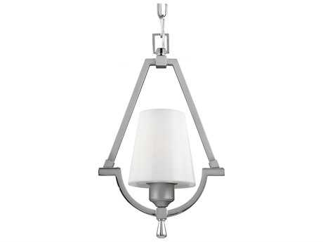 Feiss Preakness Satin Nickel / Polished Nickel 9.25'' Wide Pendant Light with White Opal Shiny Glass Shade