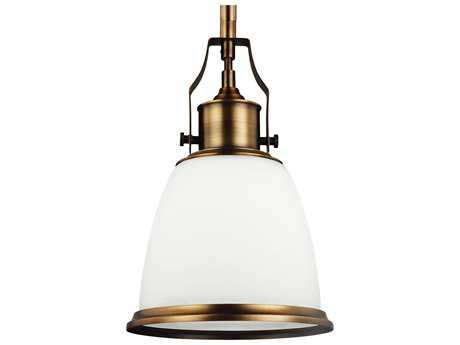 Feiss Hobson Aged Brass 7.5'' Wide Mini-Pendant with Opal Etched Cased Glass Shade