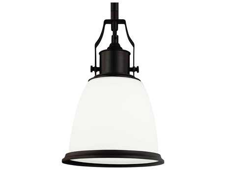 Feiss Hobson Oil Rubbed Bronze 7.5'' Wide Mini-Pendant with Opal Etched Cased Glass Shade