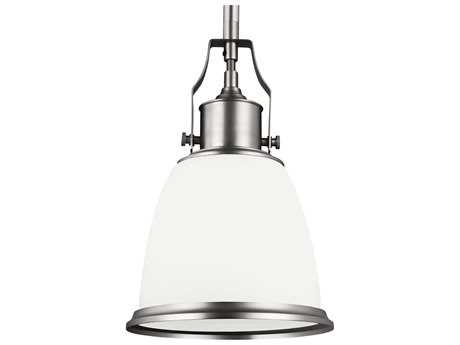 Feiss Hobson Satin Nickel 7.5'' Wide Mini-Pendant with Opal Etched Cased Glass Shade