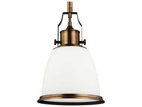 Feiss Hobson Aged Brass 9.5'' Wide Pendant Light with Opal Etched Cased Glass Shade