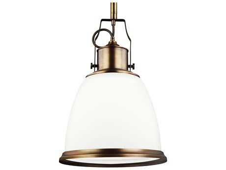 Feiss Hobson Aged Brass 14'' Wide Pendant Light with Opal Etched Cased Glass Shade