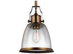 Feiss Hobson Aged Brass 9.5'' Wide Pendant Light with Clear Seeded Glass Shade