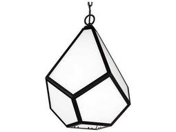 Feiss Diamond Black 13.5'' Wide Pendant Light with Opal White Glass Shade