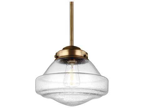 Feiss Alcott Aged Brass 10'' Wide Mini-Pendant with Clear Seeded Glass Shade