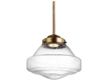 Feiss Alcott Aged Brass 10'' Wide LED Mini-Pendant with White Opal Shiny Glass Shade