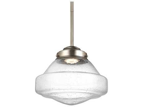 Feiss Alcott Satin Nickel 10'' Wide LED Mini-Pendant with White Opal Shiny Glass Shade