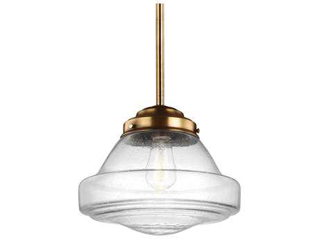 Feiss Alcott Aged Brass 12'' Wide Mini-Pendant with Clear Seeded Glass Shade