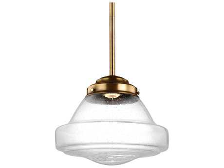 Feiss Alcott Aged Brass 12'' Wide LED Mini-Pendant with White Opal Shiny Glass Shade
