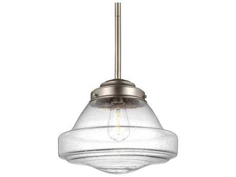 Feiss Alcott Satin Nickel 12'' Wide Mini-Pendant with Clear Seeded Glass Shade