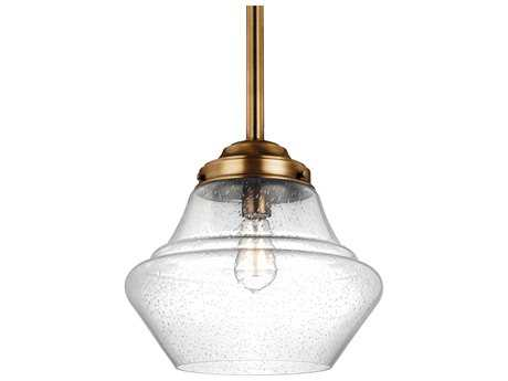 Feiss Alcott Aged Brass 13.88'' Wide Pendant Light with Clear Seeded Glass Shade