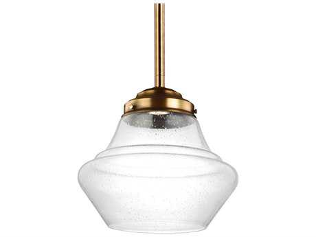 Feiss Alcott Aged Brass 13.88'' Wide LED Pendant Light with White Opal Shiny Glass Shade