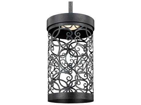 Feiss Arramore Dark Weathered Zinc 5.5'' Wide LED Outdoor Hanging Pendant Light