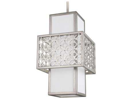 Feiss Kenney Sunrise Silver 8'' Wide Edison Bulb Pendant Light with White Linen Fabric Shade