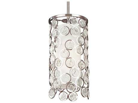 Feiss Lexi Polished Nickel 7'' Wide Edison Bulb Pendant Light with White Shantung Silk Shade