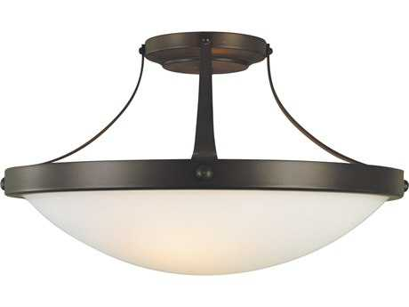 Feiss Boulevard Oil Rubbed Bronze Two-Light 15.25'' Wide Semi-Flush Mount with Opal Etched Glass Shade