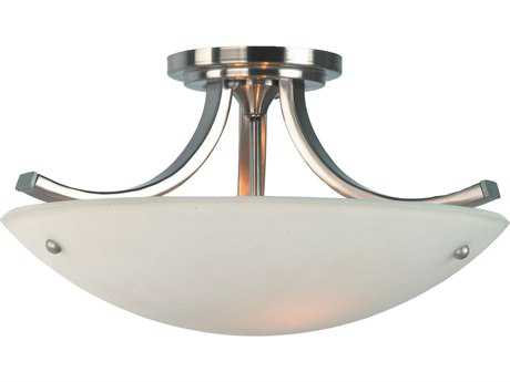 Feiss Gravity Brushed Steel / Polished Nickel Three-Light 15.75'' Wide Semi-Flush Mount with Pressed Opal Etched Glass Shade