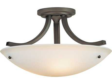 Feiss Gravity Oil Rubbed Bronze Three-Light 15.75'' Wide Semi-Flush Mount with Pressed Opal Etched Glass Shade