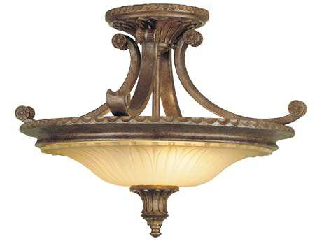 Feiss Stirling Castle British Bronze Two-Light 18.75'' Wide Semi-Flush Mount with Antique Excavation Glass Shade