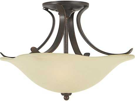 Feiss Morningside Grecian Bronze Two-Light 15'' Wide Semi-Flush Mount with Cream Snow Glass Shade