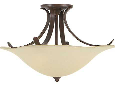 Feiss Morningside Grecian Bronze Three-Light 18'' Wide Semi-Flush Mount with Cream Snow Glass Shade