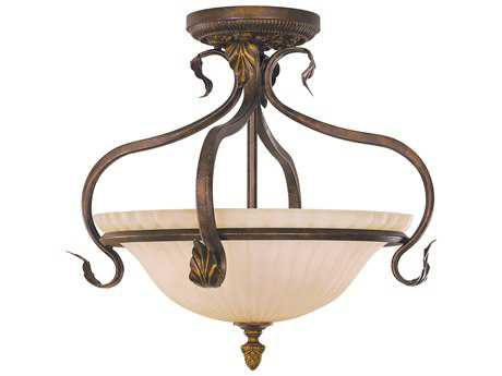 Feiss Sonoma Valley Aged Tortoise Shell Three-Light 16.5'' Wide Semi-Flush Mount with French Scavo Glass Shade