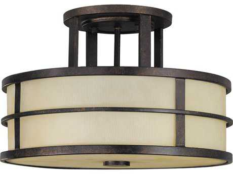 Feiss Fusion Grecian Bronze Three-Light 13.5'' Wide Semi-Flush Mount with Amber Ribbed Glass Shade