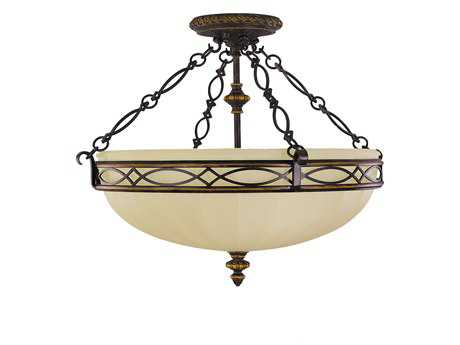 Feiss Drawing Room Walnut Three-Light 22.5'' Wide Semi-Flush Mount with English Scavo Glass Shade